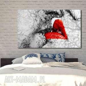 Obraz XXL USTA 1 - 120x70cm design na płótnie pocałunek red, obraz, usta, red