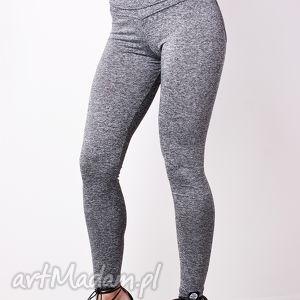 szare melanżowe modelujące legginsy damskie push up l, kobiece