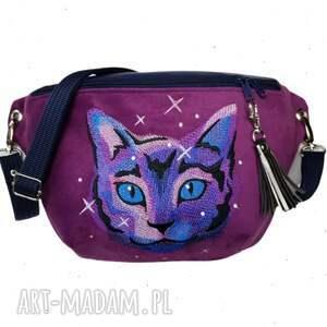 nerka xxl kosmiczny kot - ,nerkazkotem,nerkakosmos,zapętlonanitka,torebka,fuksja,haft,