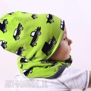 hand-made czapka zielone autka