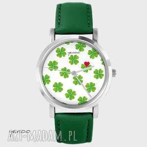 Prezent Zegarek - Lucky Heart, koniczynka, serce skórzany, zielony, zegarek
