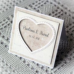 Kartka ślubna personalizowana z ozdobną ramką , kartka, ślubna, ramka, serce