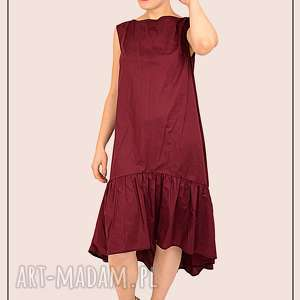 pomysł na upominek bordowa sukienka z falbaną , falbana, bawełna, prezent, swieta