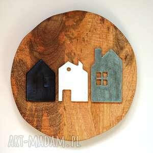 unikalny, 3 x domki ceramika, dom, ceramiczne, domki, choinka