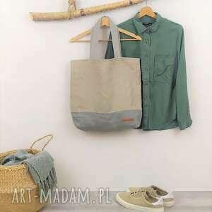 Torba shopper bag beżow - szara len favourite na ramię bamsi bag