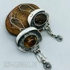 długie kolczyki z bursztynem bałtyckim srebro 925, bursztynem, damska