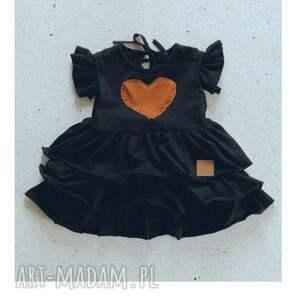 sukienka dziewczęca czarna z falbankami, dla dziecka