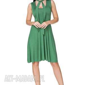 sukienki sukienka rozkloszowana wiązana na szyi zielona t237