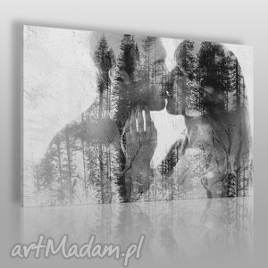 obraz na płótnie - pocałunek miłość 120x80 cm 43401, pocałunek, para