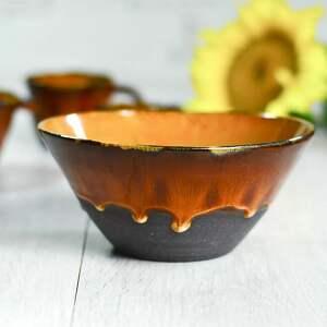 misa ceramiczna średnia z serii ognista brązowo pomarańczowa 950 ml