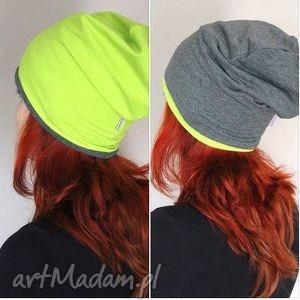 czapka dresowa 2 w 1 dwustronna dwukolorowa - dresowa, czapka, beanie, smerfetka, oversize