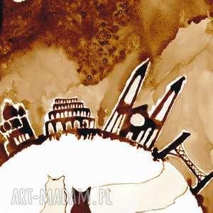 autorskie obrazy czekając aż świat się naprawi - obraz kawą malowany
