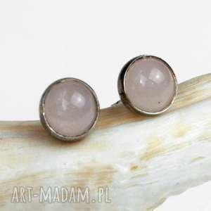drobne srebrne szyfty z kwarcem różowym a310 - srebrne sztyfty, minimalistyczne