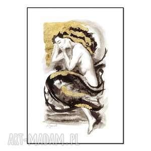 grafika z cyklu śniące - śniąca iv, grafiki do salonu, ręcznie malowane