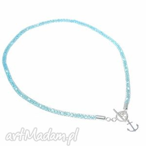 naszyjnik aqua anchor - naszyjnik, srebro, kotwica, kryształki, swarovski, akwamaryn