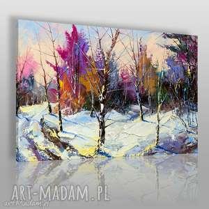 obraz na płótnie - las śnieg kolory 120x80 cm 62602, las, śnieg, zima, kolorowy