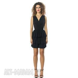 Sukienka koktajlowa bez pleców, falbany, elastyczna,