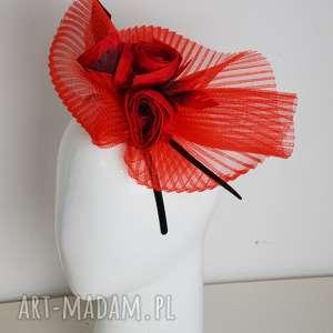 fascynatory czerwone kwiaty, fascynator, czerwony, krynolina, jedwab