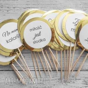 zaproszenia piki do deserów - gold mirror