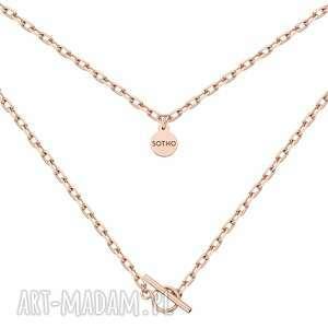masywny łańcuszek z różowego złota ozdobnym zapięciem, zapięcie, łańcuch