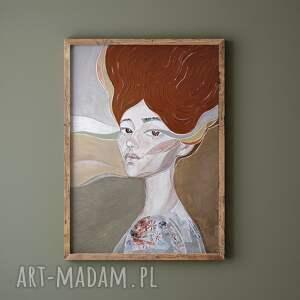 prezent na święta, plakat a2 - wydmy, plakat, wydruk, twarz, kobieta, portret