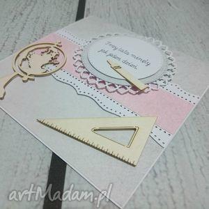 handmade scrapbooking kartki szaro-różowo dla wyjątkowej nauczycielki