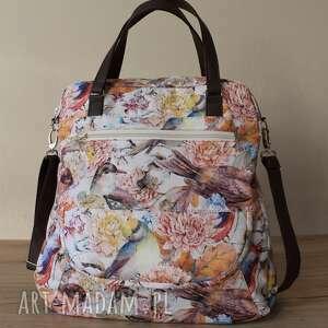 na ramię torebka listonoszka - ptaszki, elegancka, nowoczesna, pakowna, prezent