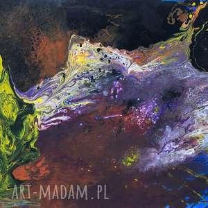 Akryl na płótnie OBCE KRAJOBRAZY obraz 100x90cm artystki Adriany Laube ,