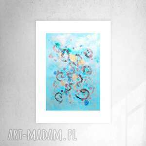 abstrakcyjna grafika do domu, niebieska dekoracja na ścianę, minimalizm obrazek