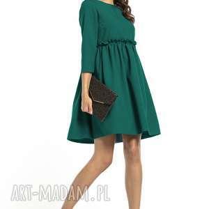 elegancka sukienka marszczona pod biustem, t284, szmaragdowa