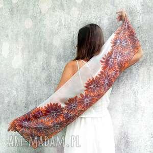 hand-made szaliki ręcznie malowany szal rudbekie