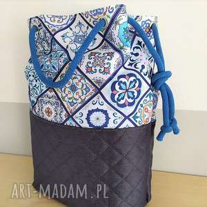 na ramię torba worek wzór portugalski, torba, torebka, zakupowa, plażowa