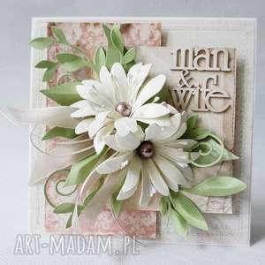 oryginalny prezent, z kwiatami - w pudełku, ślub, życzenia, gratulacje scrapbooking