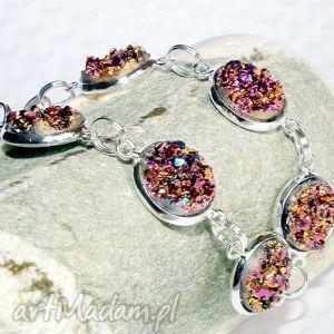 bransoletki bransoletka złoto fioletowe iskierki druzy, druza, błyszcząca
