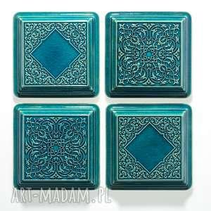 handmade ceramika dekory turkusowe z ramą