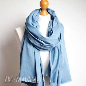 Niebieski szal chusta bawełniana na wiosnę, bawełniany damski wiosenny, mody