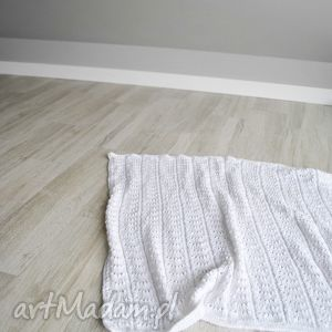 kocyk ażurowy biały na drutach, kocyk, biały, ażurowy, chrzciny