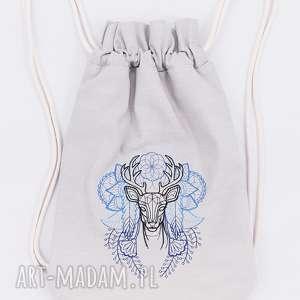 plecak worek z jeleniem - ,plecak,worek,jeleń,las,góry,torebka,