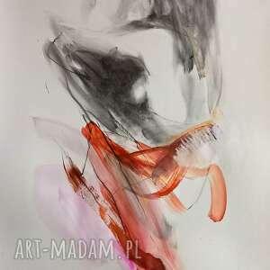 unikalny, akt z różem, duży obraz, grafika kobieta, rysunek