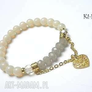bransoletki chain it - vanilia /03 09 15/, opalit, kryształki, serce, kamienie, metal
