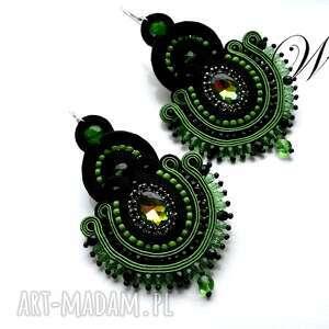 wdart kolczyki sutasz zielono czarne, sutasz, kolczyki, eleganckie, modne