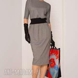 SUKIENKA MONO PEPITKA, sukienka, dopasowana, biuro, uniwersalna, midi, elegancka