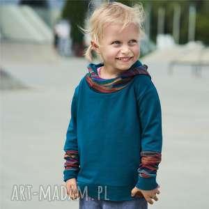 Bluza dziewczęca z kapturem kalejdoskop szmaragdowa zygzak bluza