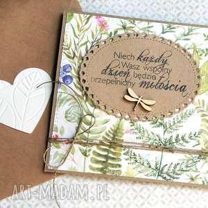 kartka ślubna leśne życzenia, ślub