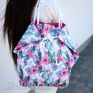 hand made na ramię duża torba i plażę w kaktusy kolorowa