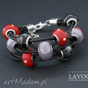 RED ROCK - bransoletka z naturalnego rzemienia z elementami modułowymi typu Pandora