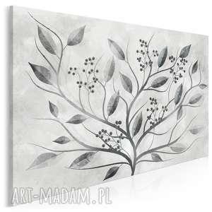 Obraz na płótnie - CZARNY LIŚCIE ROŚLINA ART - 120x80 cm (93801), natura