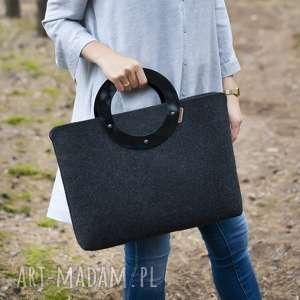duża torebka z filcu i plexi - minimalistyczna - grafiowa, filc, filcowa, plexi