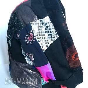 komin patchworkowy pojedynczy egzemplarz damski handmade - wymiary 44cm na 45cm