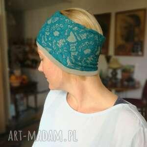 ręcznie wykonane opaski opaska damska niebieska-turkusowa koronkowa wiosenna